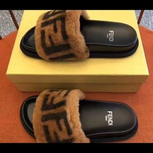 Shoes - Fendi leather sandal with FF shearling slippers